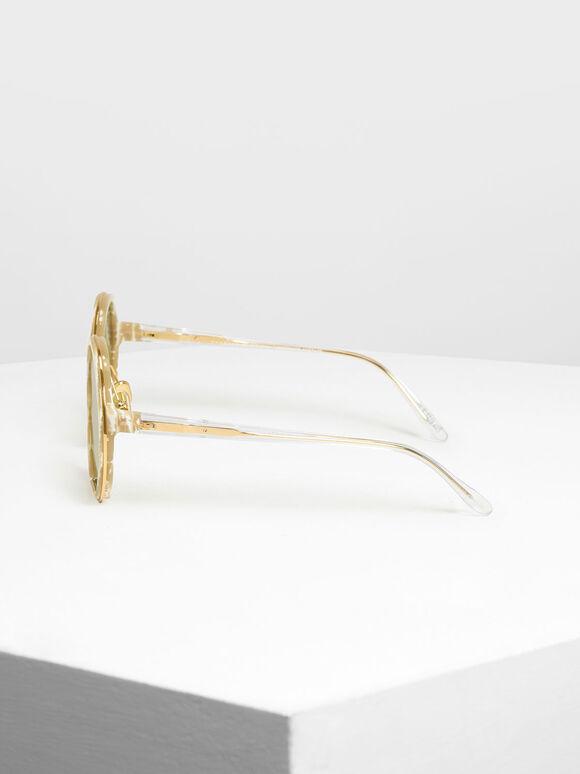 Cut Off Frame Round Sunglasses, Cream, hi-res
