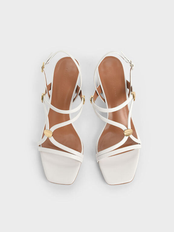 Metal Accent Strappy Block Heels, White, hi-res