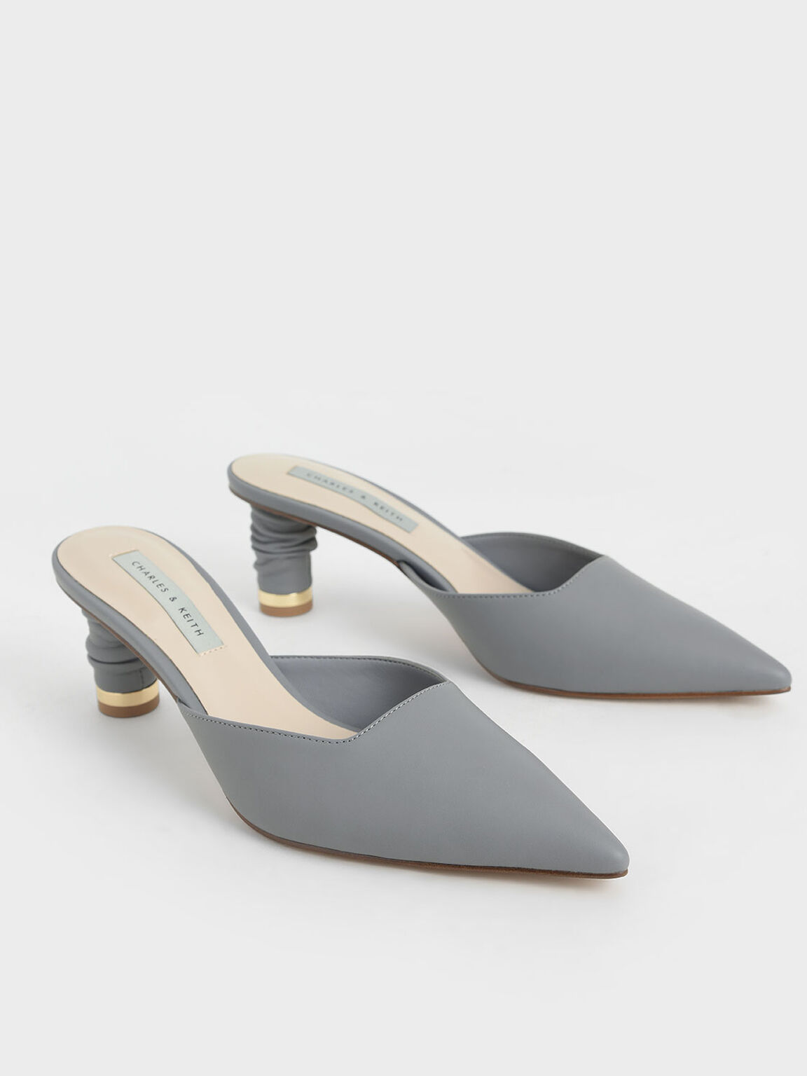 Ruched Cylindrical Heel Mules, Grey, hi-res