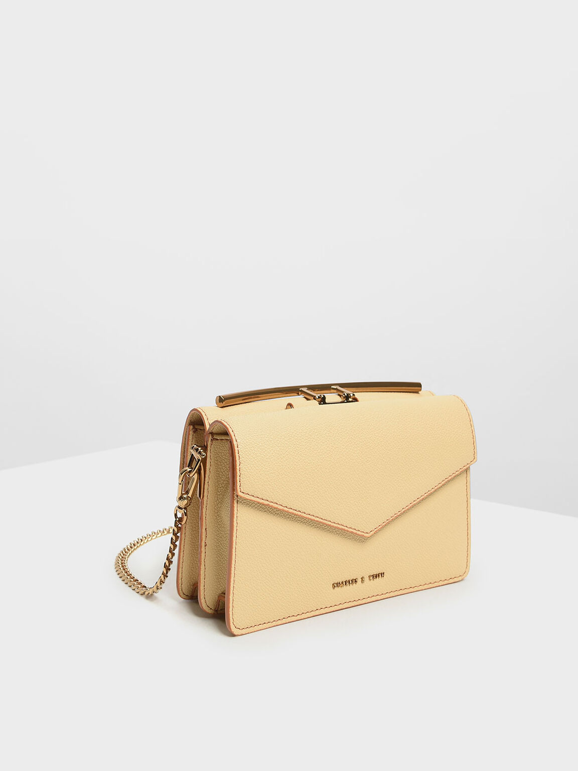 Stone Embellished Shoulder Bag, Yellow, hi-res