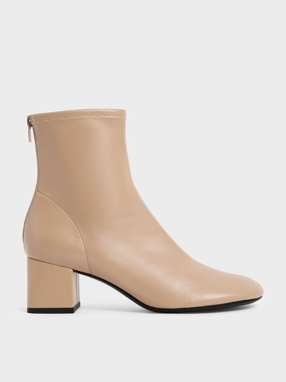 Block Heel Ankle Boots, Beige, hi-res