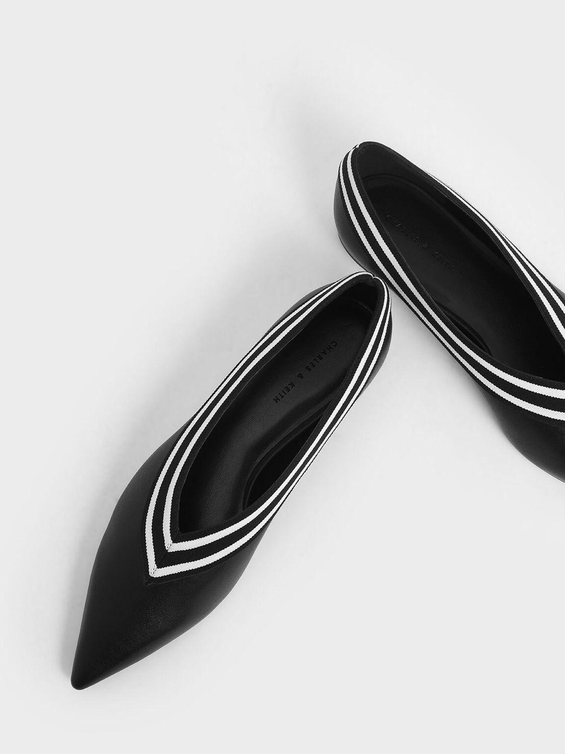 Striped Trim Ballerina Flats, Black, hi-res