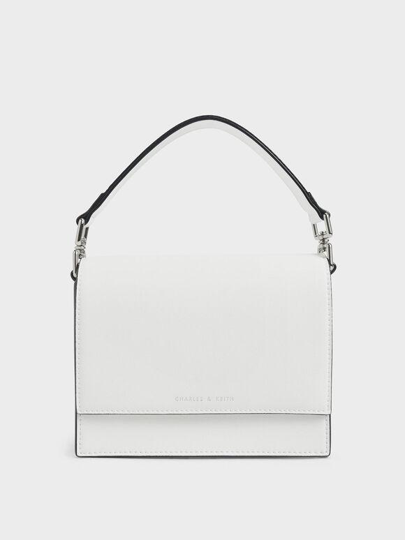 Striped Top Handle Crossbody Bag, White, hi-res