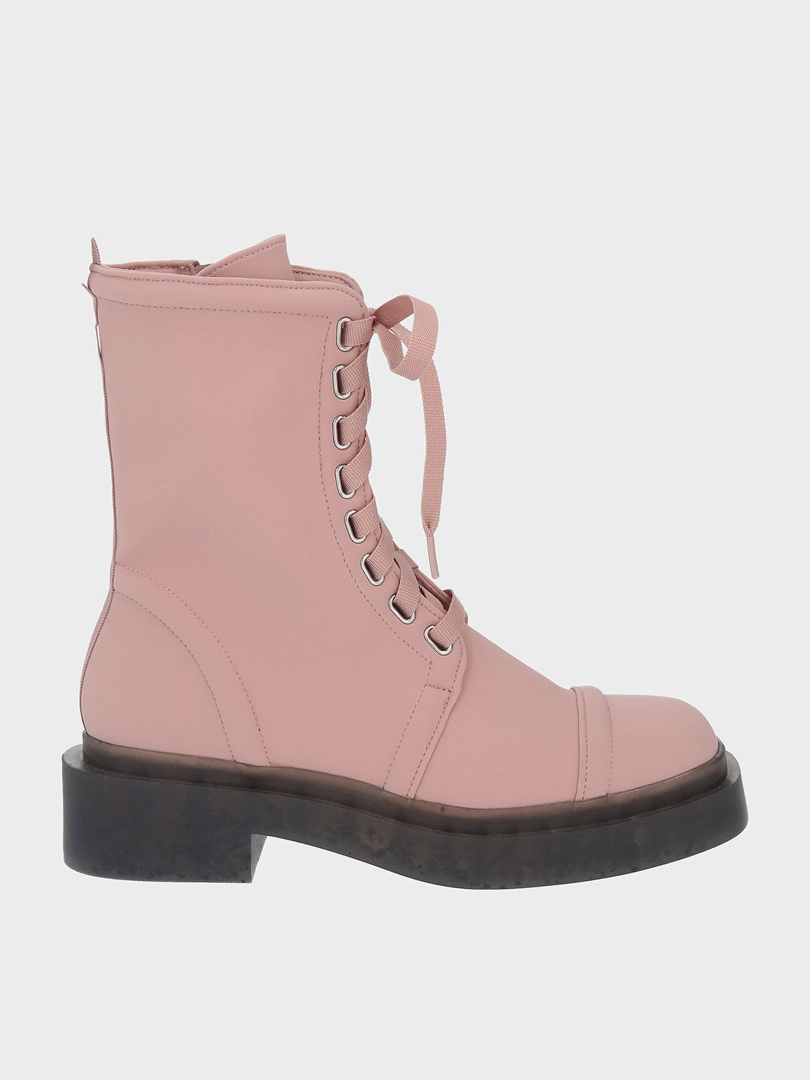 The Anniversary Series: Charli Recycled Nylon Lace-Up Ankle Boots, Pink, hi-res