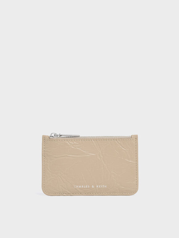 Wrinkled Effect Top Zip Cardholder, Beige, hi-res