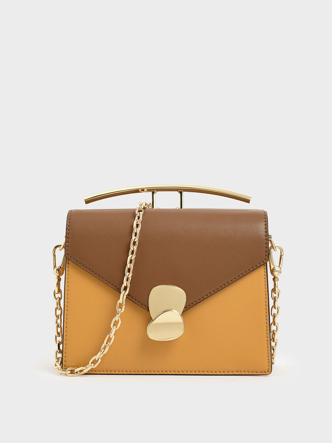 Two-Tone Metallic Push Lock Top Handle Bag, Brown, hi-res