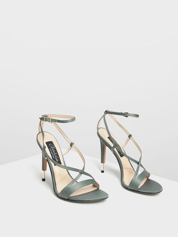 Satin Criss Cross Sandals, Sage Green