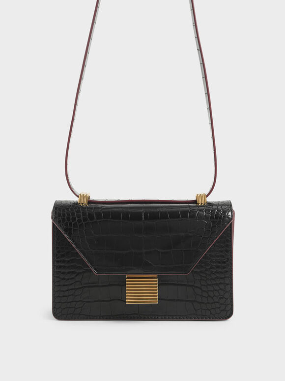 Croc-Effect Push Lock Crossbody Bag, Black, hi-res