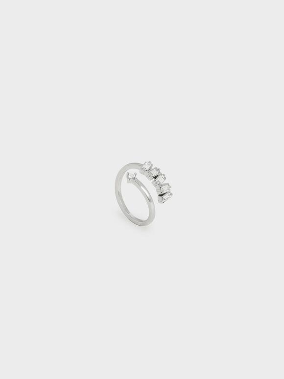 Swarovski® Crystal Embellished Wrap Ring, Silver, hi-res