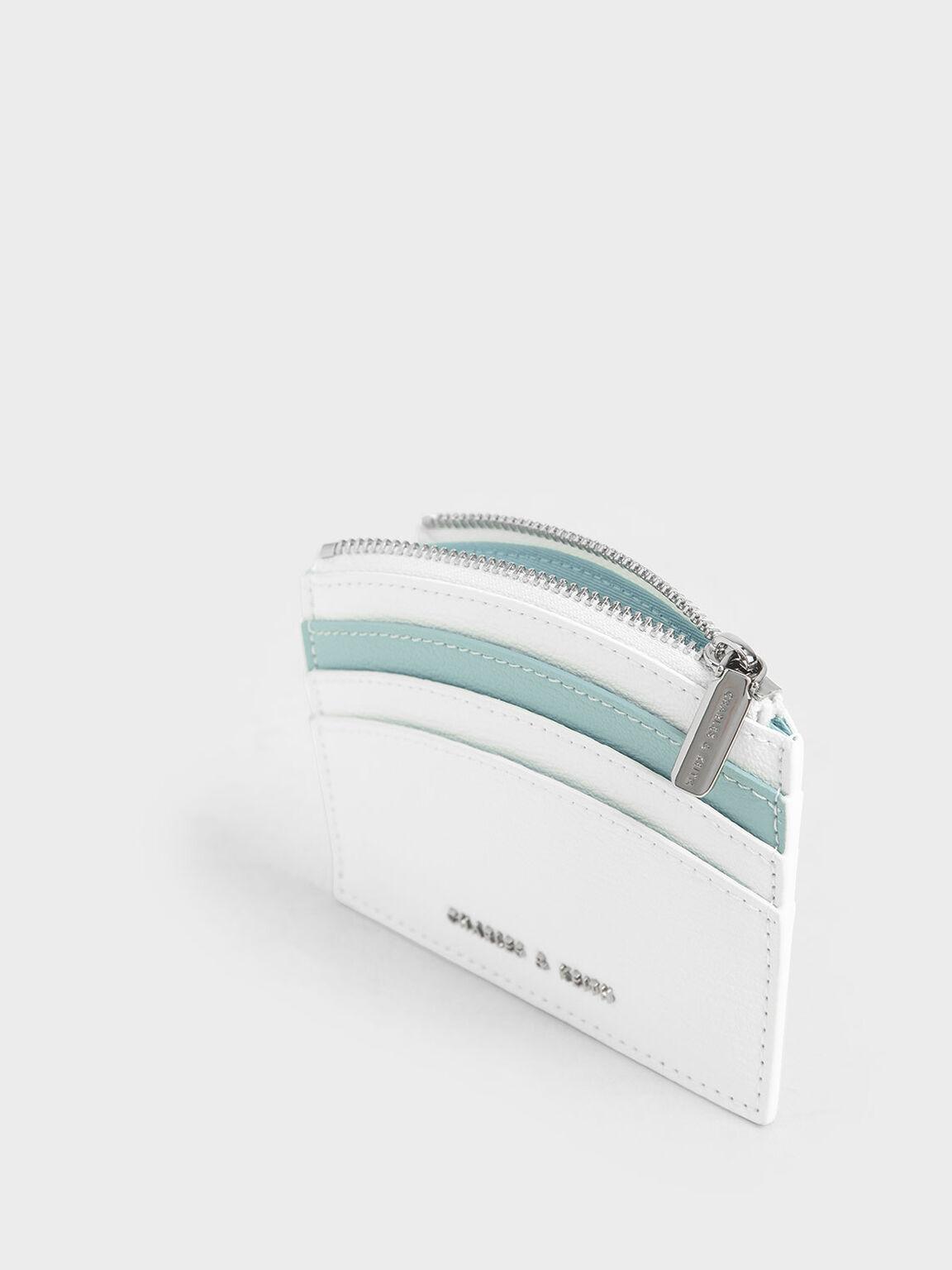Two-Tone Multi-Slot Zip Card Holder, White, hi-res