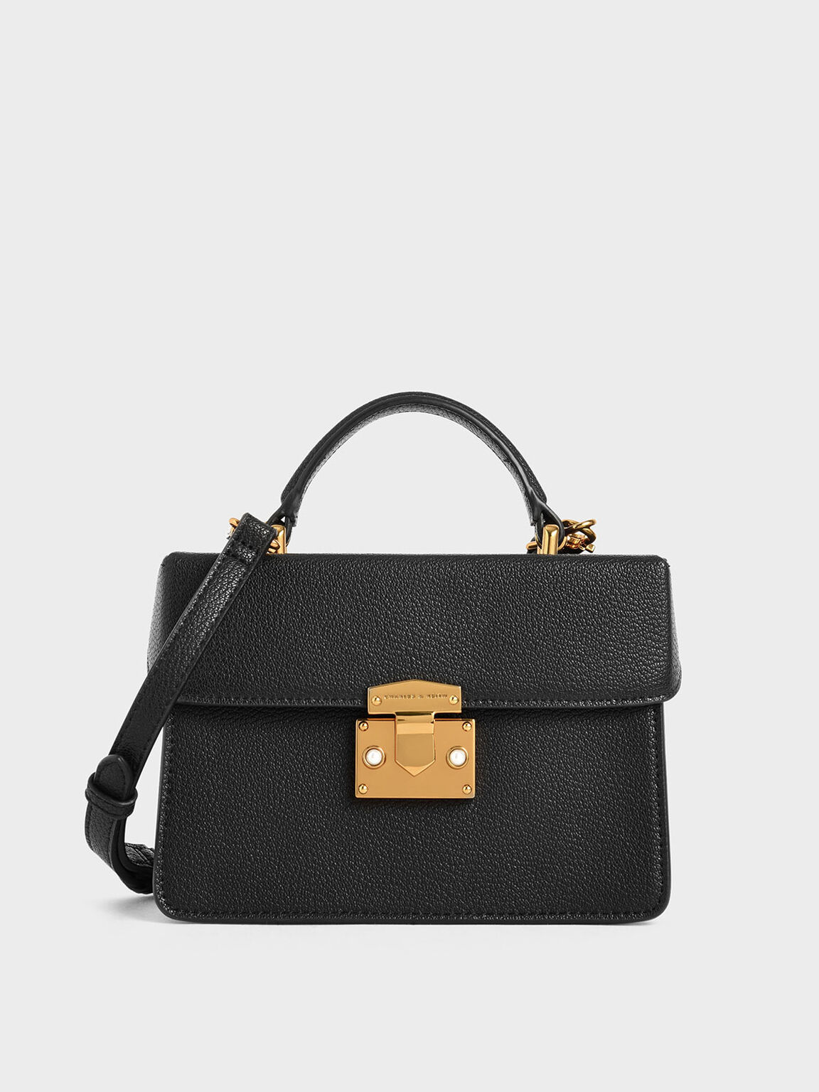 Classic Push-Lock Top Handle Bag, Black, hi-res