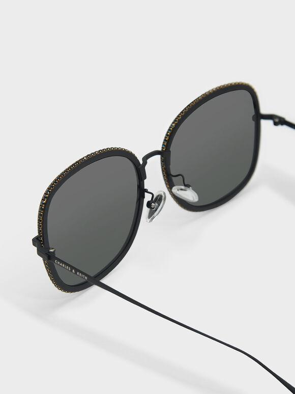 碎鑽方框墨鏡, 黑色, hi-res