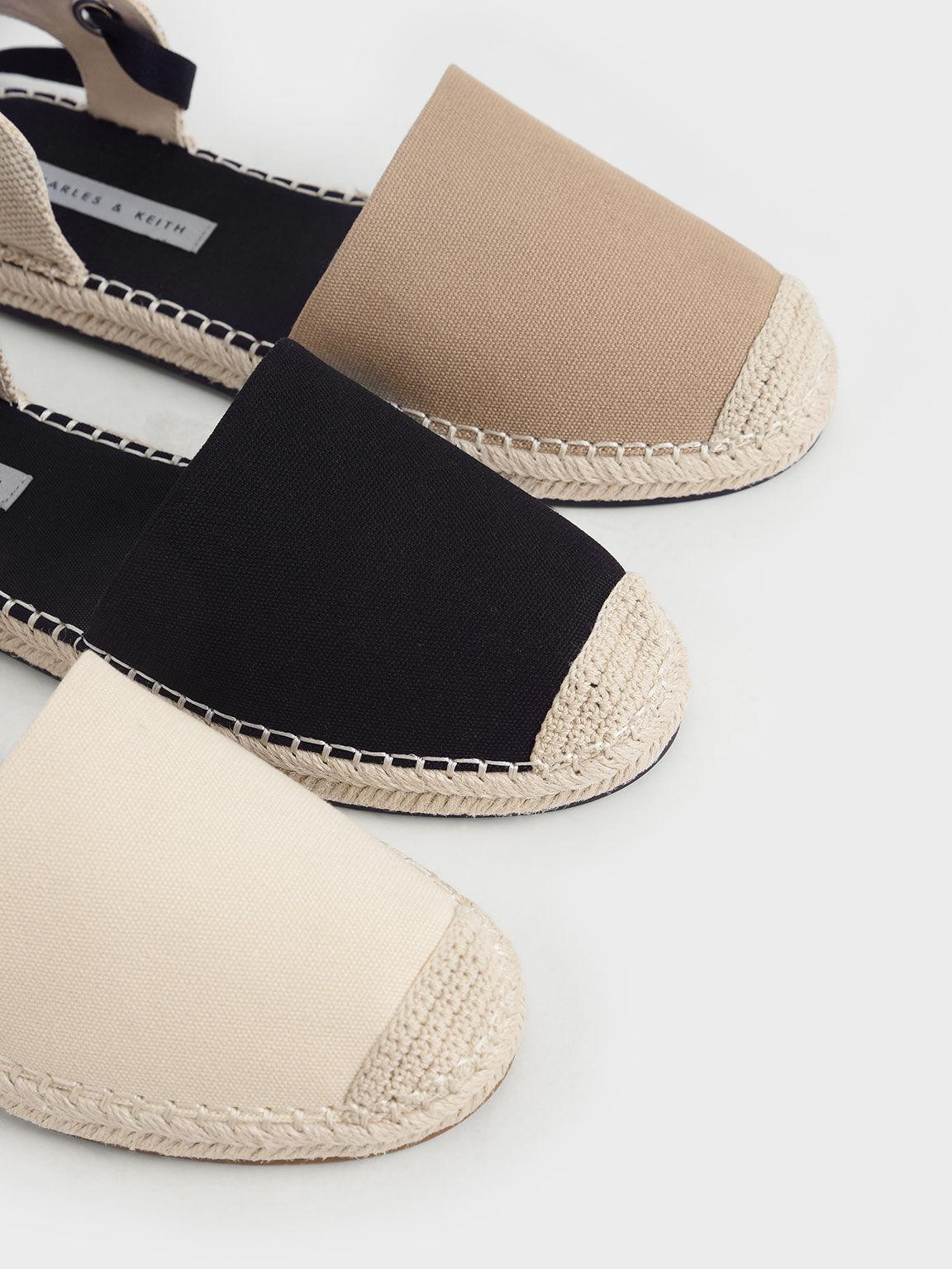 綁帶帆布草編鞋, 黑色, hi-res