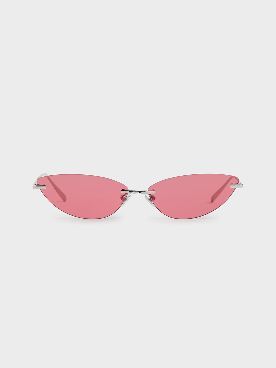 Rimless Cat-Eye Sunglasses, Red, hi-res