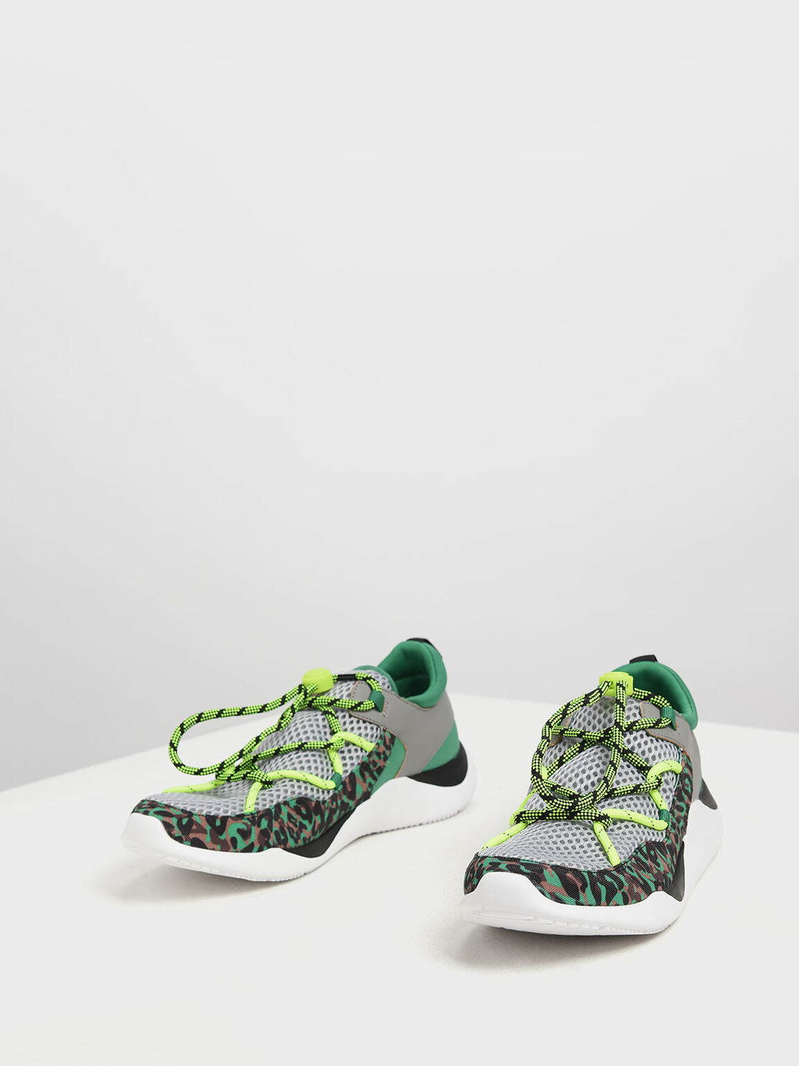 Drawstring Mesh Sneakers, Green, hi-res