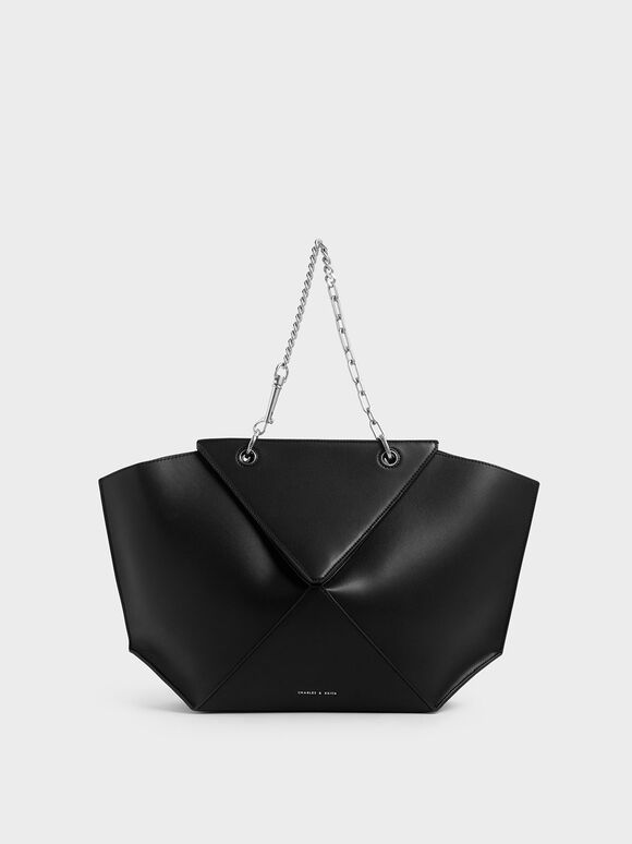 Thin Chain Handle Sculptural Tote, Black, hi-res