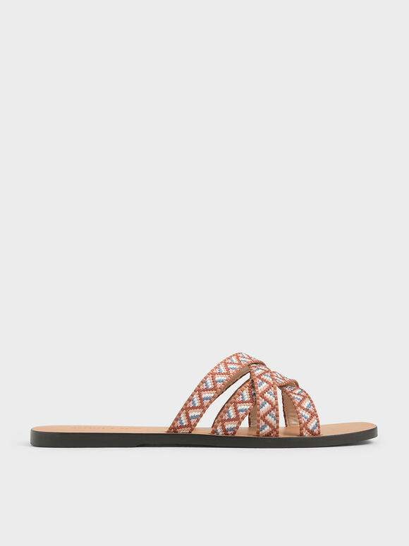 Woven Strappy Slide Sandals, Nude, hi-res