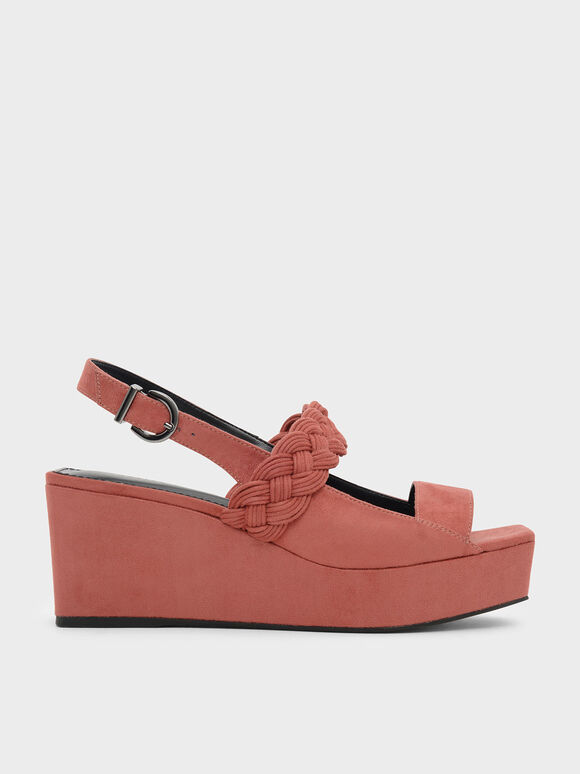 Braid Detail Slingback Wedges, Pink, hi-res