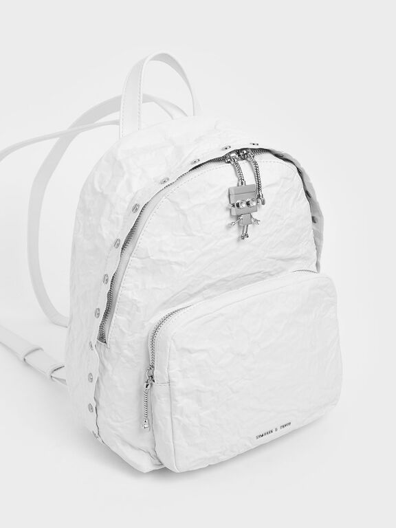 Robot Charm Wrinkled Effect Backpack, White, hi-res