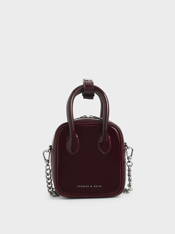Mini Patent Square Pouch, Burgundy, hi-res