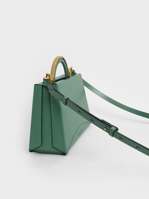 Metallic Top Handle Trapeze Bag, Green, hi-res