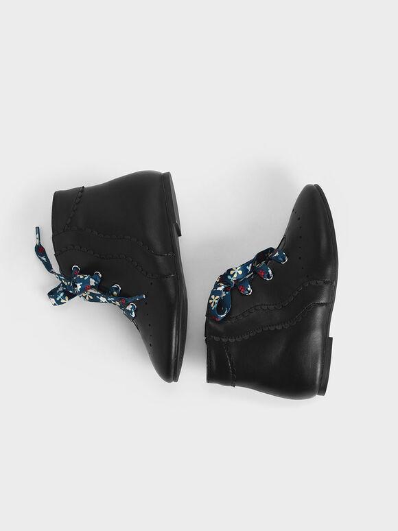 Girls' Floral Print Lace-Up Ankle Boots, Black, hi-res