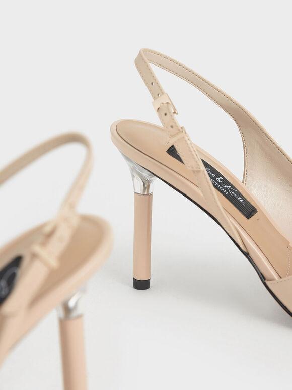 Patent Leather Half D'Orsay Slingback Pumps, Light Pink, hi-res