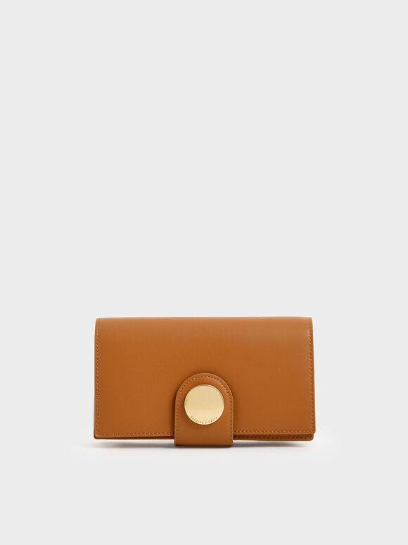 Mini Chrome Button Wallet, Tan, hi-res