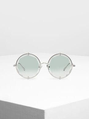 Round Wire Frame Skinny Sunglasses, Multi