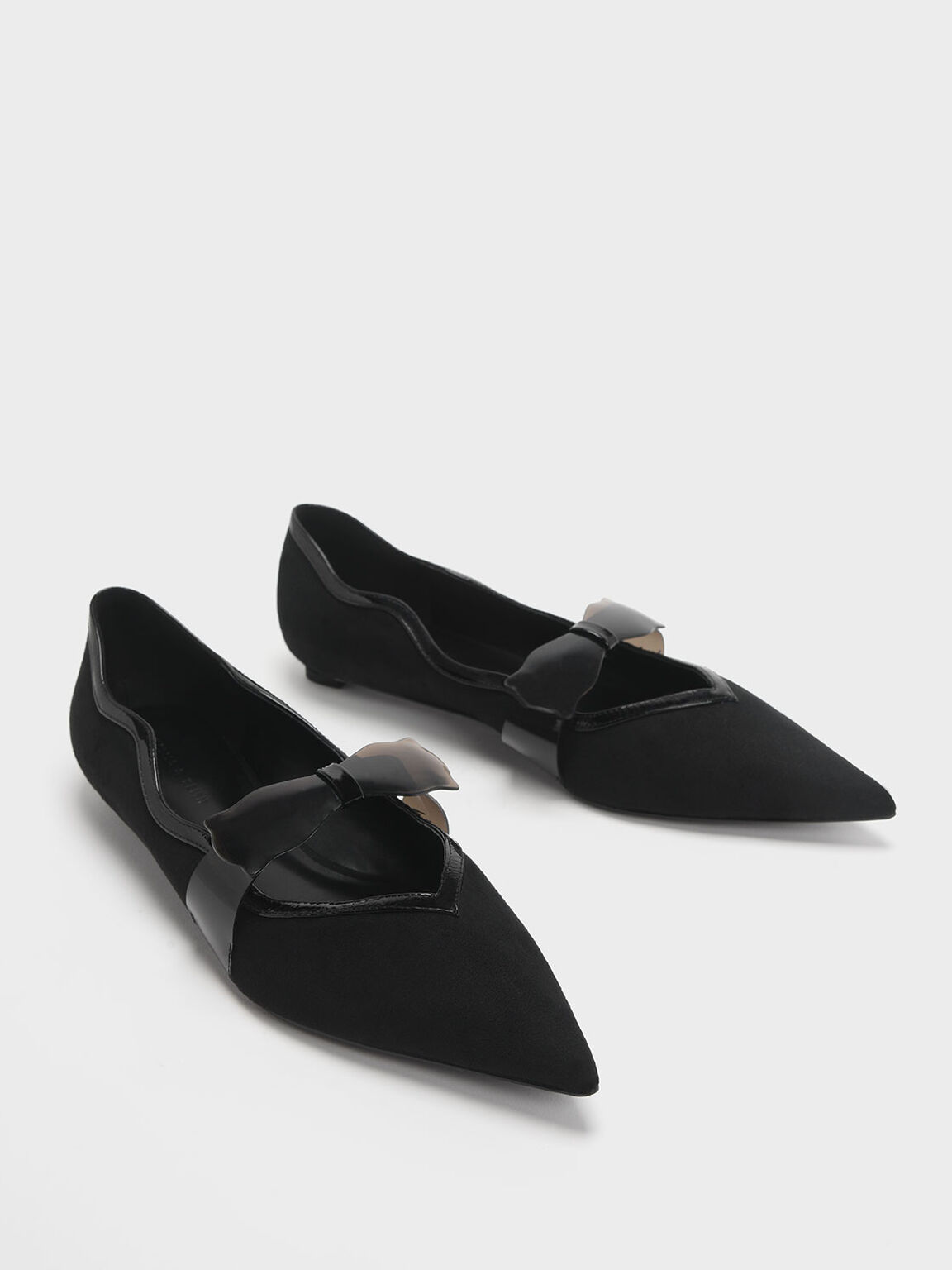 Clear Bow Textured Mary Jane Flats, Black, hi-res