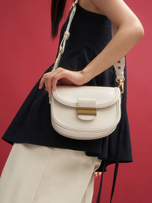 Embellished Saddle Bag, Cream, hi-res