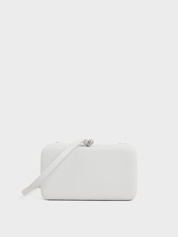 Boxy Twist Lock Crossbody Bag, White, hi-res