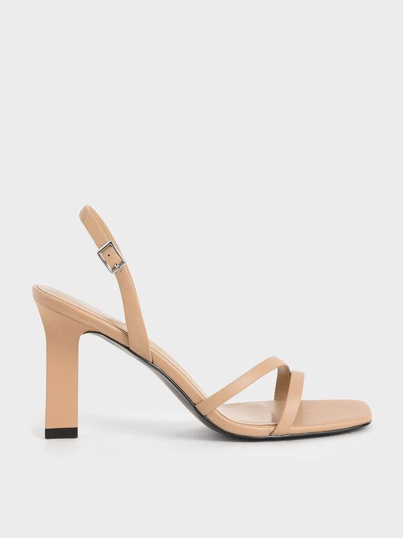 Strappy Blade Heel Slingback Sandals, Nude, hi-res
