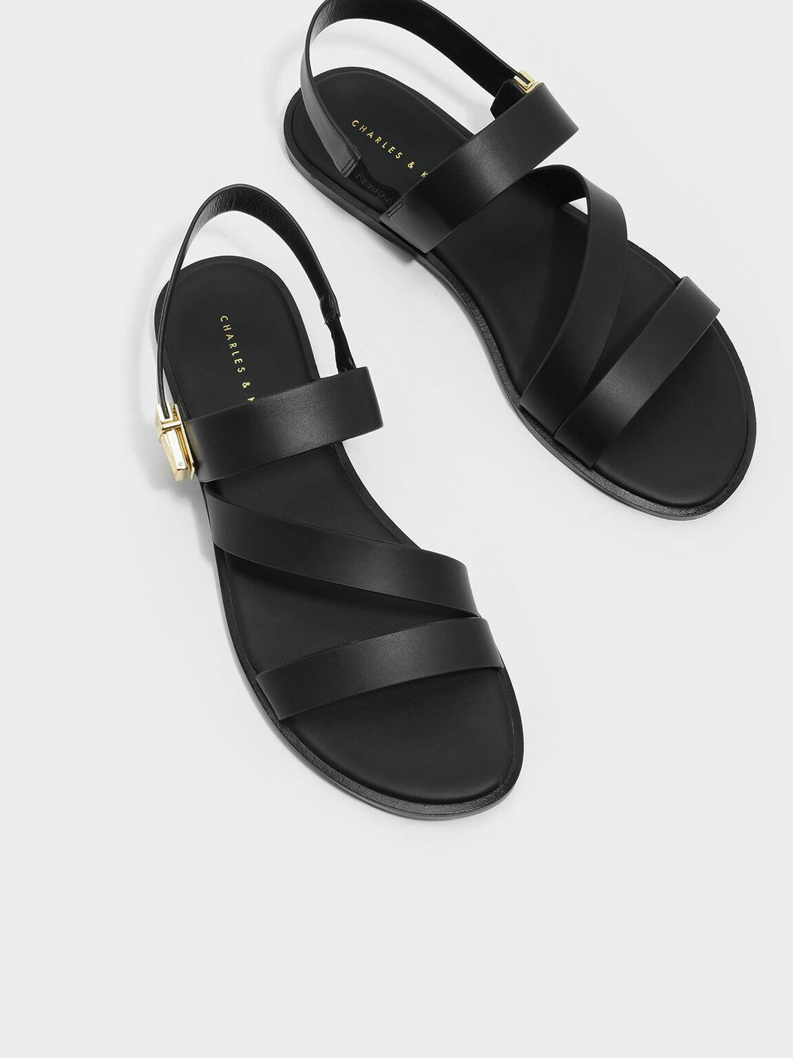 Strappy Open-Toe Sandals, Black, hi-res