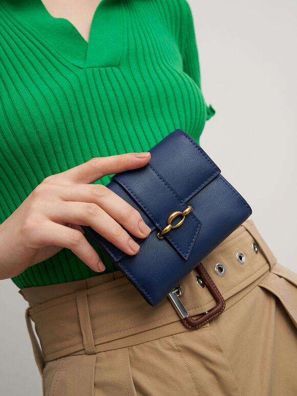 Belt Buckle Strap Short Wallet, Navy, hi-res