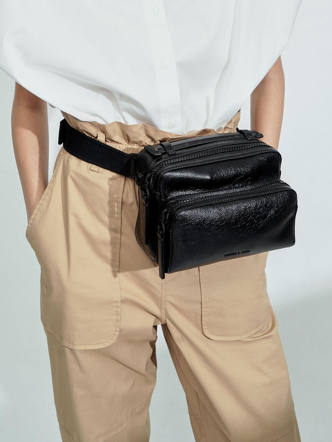 雙層拉鍊手提包, 黑色, hi-res