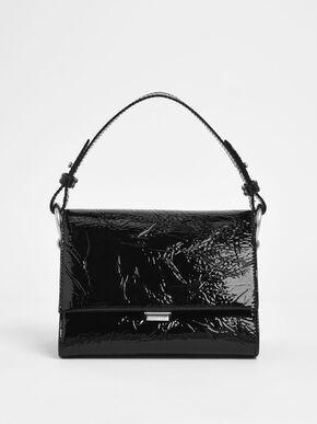 Wrinkled Patent Push Lock Handbag, Black Textured