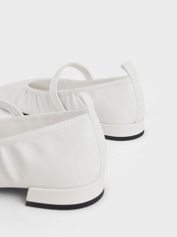 方頭抓皺瑪莉珍鞋, 白色, hi-res