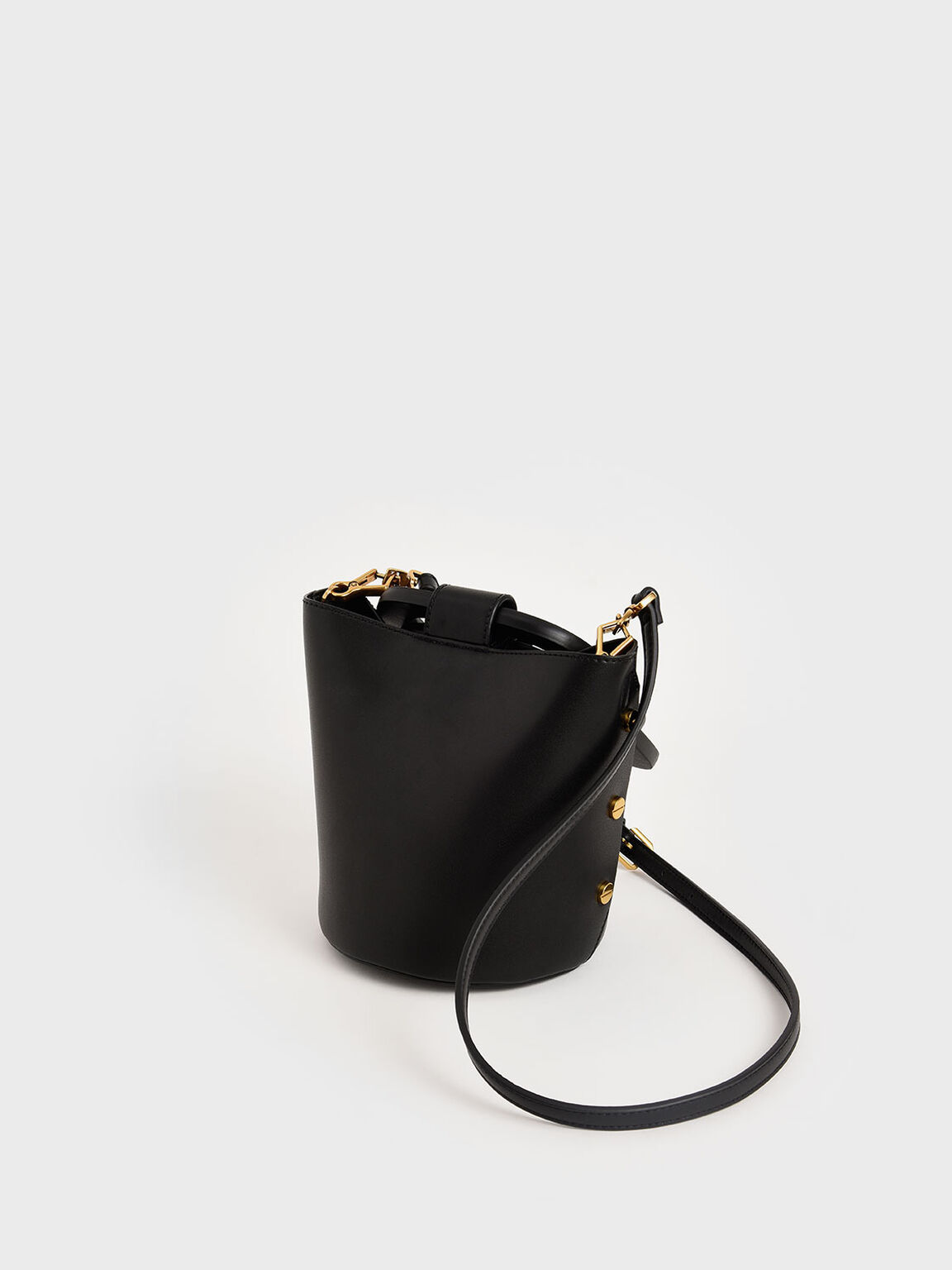 Sculptural Handle Bucket Bag, Black, hi-res