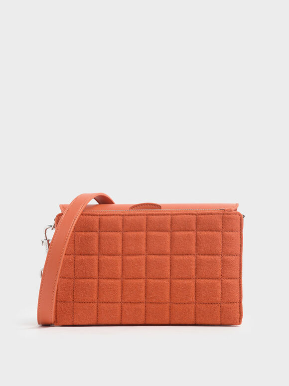 Removable Quilted Pouch Boxy Shoulder Bag, Orange, hi-res