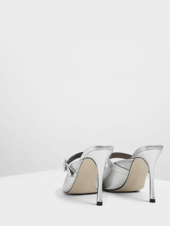 Embellished Buckle Metallic Heels, Silver