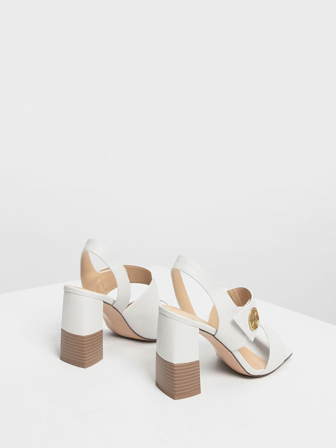 Asymmetrical Chunky Heel Sandals, Chalk, hi-res