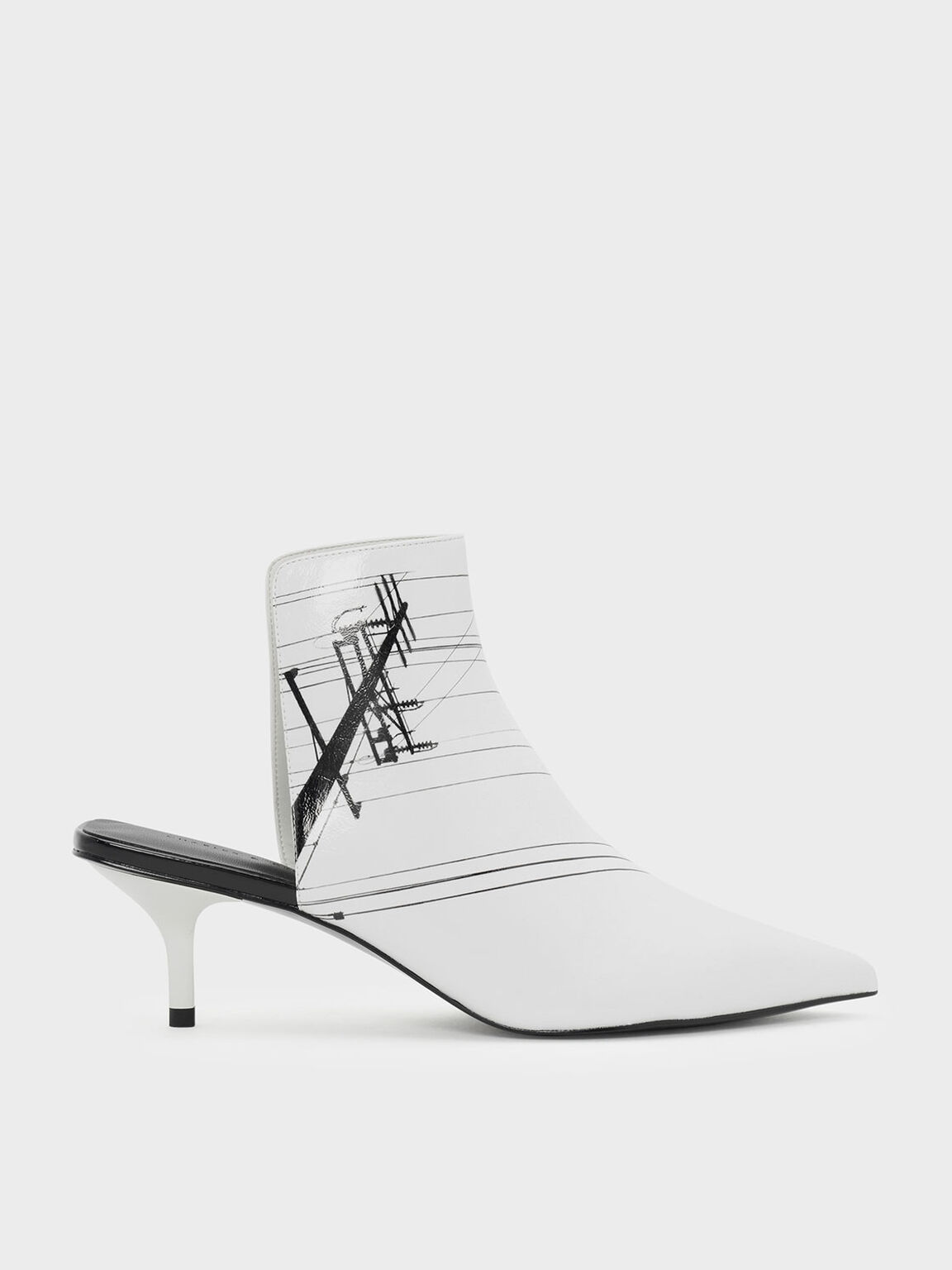 Square Back Pointed Mules, White, hi-res