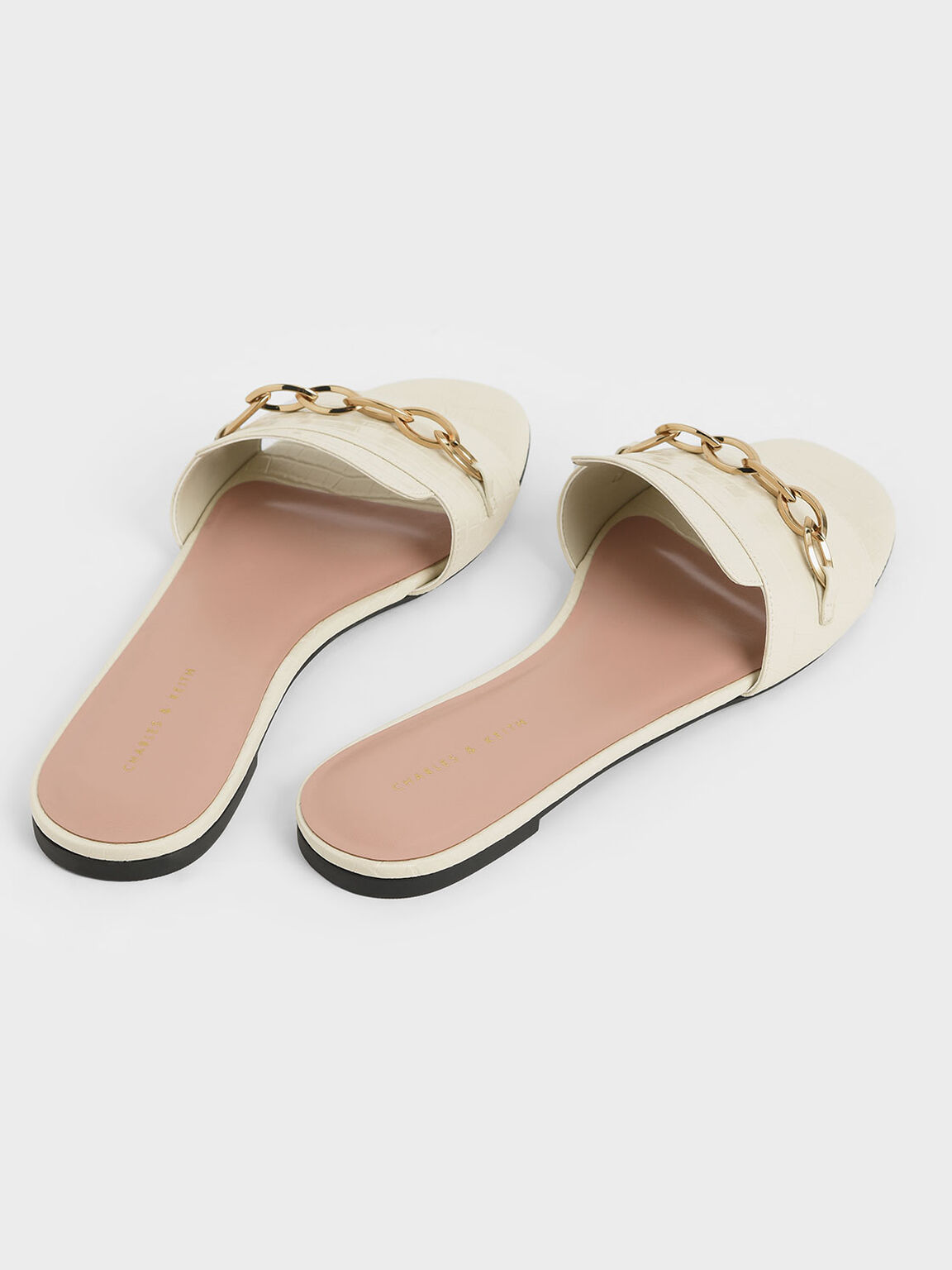 Croc-Effect Chain Link Slide Sandals, Chalk, hi-res