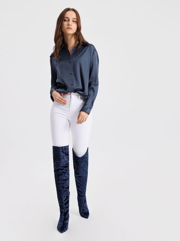 Classic Pointed Thigh High Boots, Dark Blue