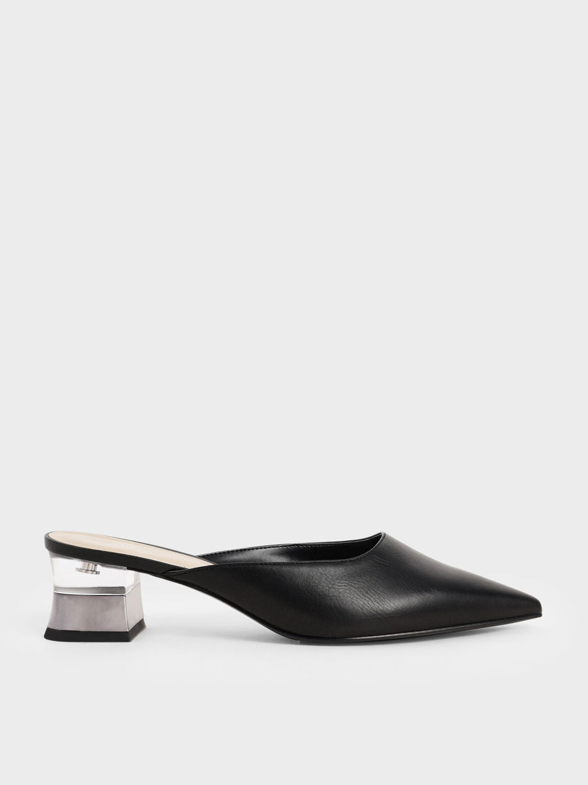 Lucite Chrome Heel Mules, Black, hi-res