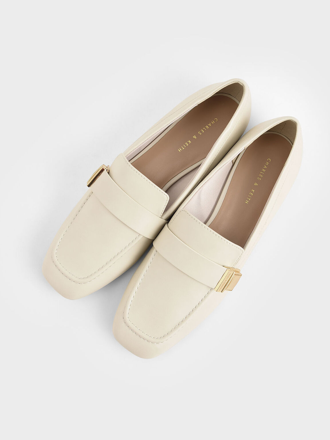 Metallic Buckle Penny Loafers, Chalk, hi-res