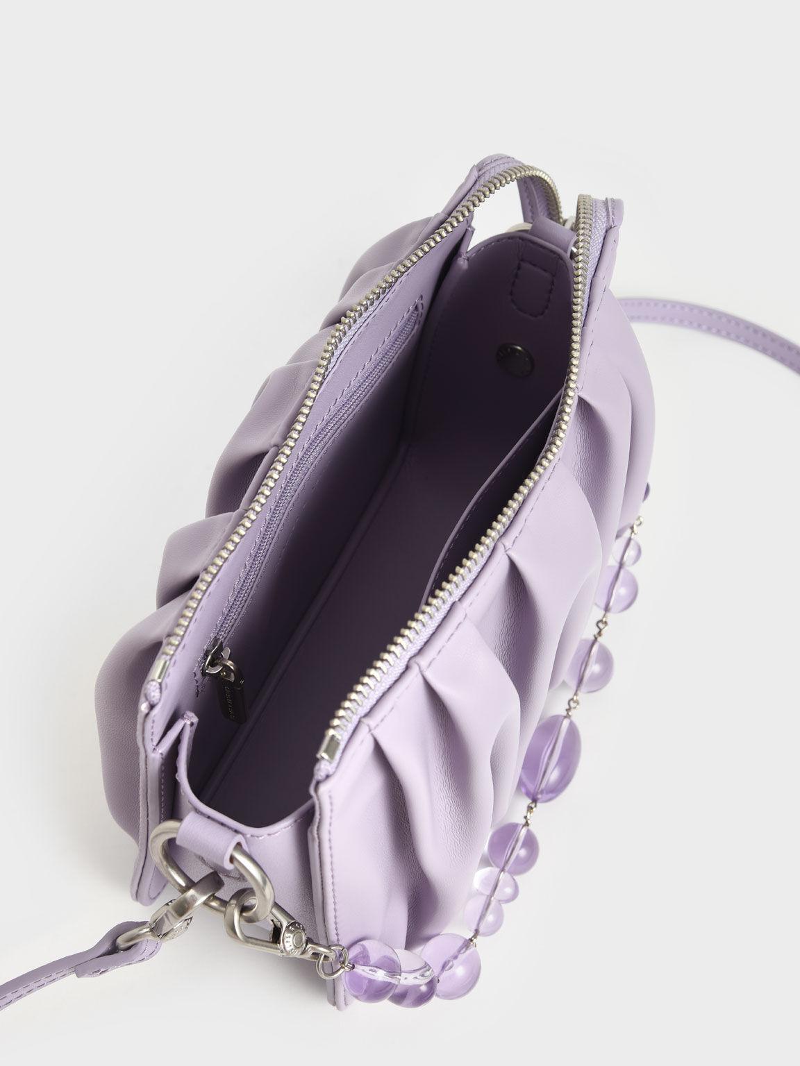 串珠抓皺肩背包, 紫丁香色, hi-res