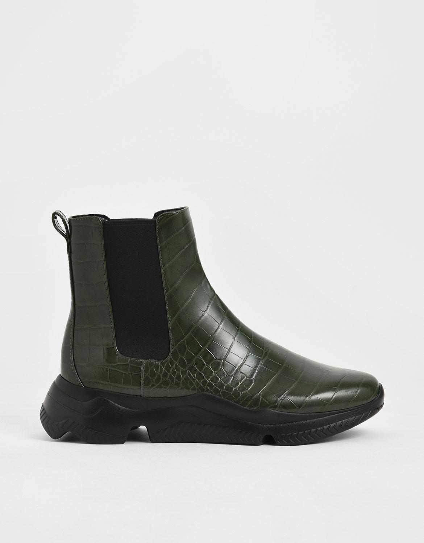 Green Croc-Effect Chunky Sole Chelsea