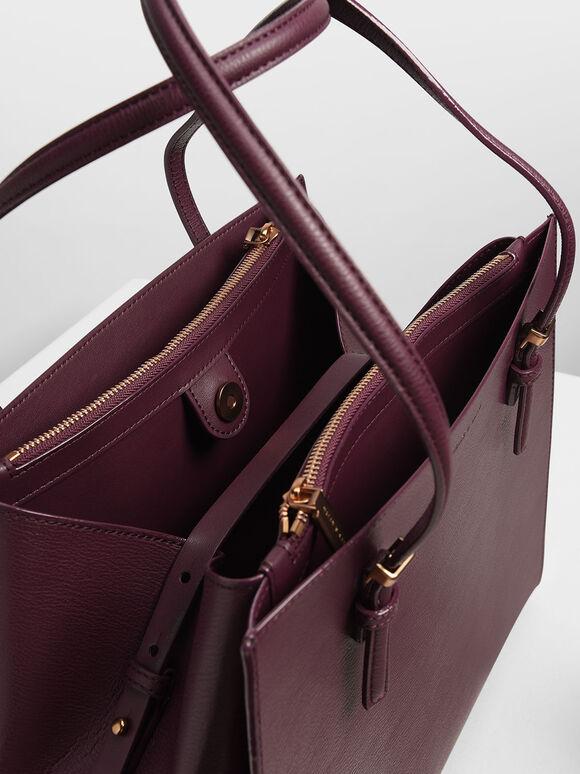 Double Handle Tote Bag, Prune, hi-res